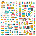 Mega set infographics flat design elements, schemes, charts, buttons, speech bubbles, stickers. Royalty Free Stock Photo