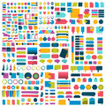 Mega set of infographics flat design elements, schemes, charts, buttons, speech bubbles, stickers.