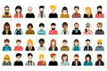 Mega set of persons, avatars, people heads different nationality in flat style. Royalty Free Stock Photo