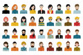 Mega set of persons, avatars, people heads different nationality in flat style Royalty Free Stock Photo