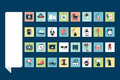 Mega set of retro flat icon set.