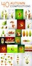 Mega vector set of autumn concepts Royalty Free Stock Photo