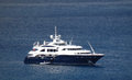 A mega yacht at anchor in admiralty bay cruising the shelter of on bequia Stock Photography
