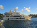 Mega yacht in gustavia harbor at st barths french west indies january on january the island is Royalty Free Stock Images
