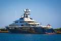 Mega yacht view of a luxury at a marina in greece Royalty Free Stock Images