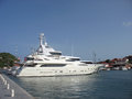 Mega yachts in gustavia harbor at st barths french west indies june on june the island is popular Stock Photography
