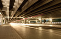 Megacity highway at night with light trails in beijing china Stock Photos