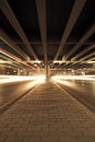 Megacity highway at night with light trails in beijing china Royalty Free Stock Images
