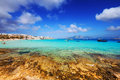 Megali Ammos beach and port in Chora, Pano Koufonisi Royalty Free Stock Photo