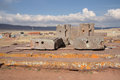 Megalithic stone complex puma punku of tiwanaku ci civilization bolivia altiplano Stock Photo