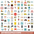 100 megalopolis icons set, flat style
