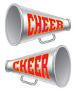 Megaphone cheer illustration of two versions of a used by cheerleaders with the word on them Royalty Free Stock Image