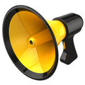 Megaphone communication. 3D render (Hi-Res) Stock Photo