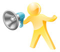 Megaphone gold person Royalty Free Stock Photo