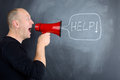 Megaphone help concept for need profile on man asking for using Royalty Free Stock Photo