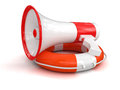 Megaphone and lifebuoy clipping path included image with Stock Images