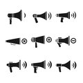 Megaphone, loudspeaker, audio, speaker, volume vector icons Royalty Free Stock Photo
