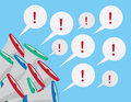 Megaphone multiple exclamation megaphones with speech bubbles Stock Image