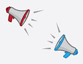 Megaphone opposites megaphones exclaiming opposite one another Stock Photos