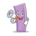 With megaphone ruler character cartoon design Royalty Free Stock Photo