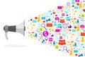 Megaphone Social Media Icons On White Background Network Communication Concept