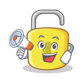 With megaphone yellow lock character mascot Royalty Free Stock Photo