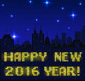 Megapolis silhouette background with happy new year wishes made with shiny windows Stock Image