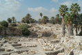 Megiddo israel excavations at tel at head of jezreel valley site of future biblical battle of armageddon foretold in book of Stock Photography
