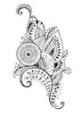 Mehendi pen drawing scetch monochrome Royalty Free Stock Photo