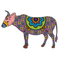 Mehndi tattoo doodle cow colored in Indian style Royalty Free Stock Photo