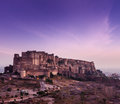 Mehrangarh fort jodhpur rajasthan india in twilight on sunset Stock Photo