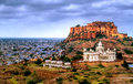 Mehrangharh Fort and Jaswant Thada mausoleum in Jodhpur, Rajasth Royalty Free Stock Photo