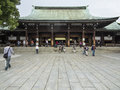 Meiji shrine in tokyo people visiting shinto Royalty Free Stock Images