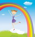 Meisje op wolk en een regenboog Stock Afbeelding