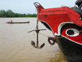 Mekong river boat vietnam anchor Royalty Free Stock Images