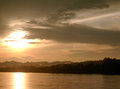 Mekong river at sunset loei province thailand Stock Photo