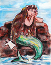 Melancholy mermaid illustratio Stock Photography