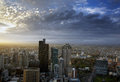 Melbourne city skyline with dramatic cloud cover Royalty Free Stock Images