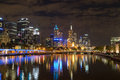 Melbourne city skyline at night with the view of Queens Bridge o Royalty Free Stock Photo