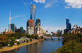 Melbourne city a view of and yarra river Stock Photos