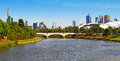 Melbourne city a view of and yarra river Stock Images
