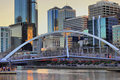 Melbourne city and Yarra River at sunset Stock Photo