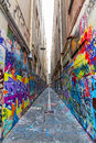 Melbourne graffiti in narrow alley australia march colorful of downtown Royalty Free Stock Image