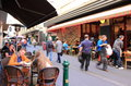 Melbourne lane culture locals and tourist enjoying dining on famous degraves street cbd australia Stock Photo