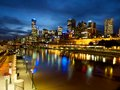 Melbourne at night and the yarra river on a winters Stock Image