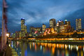 Melbourne skyline along the yarra river at dusk Stock Image