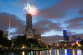 Melbourne skyline at on australia day eureka tower fireworks in victoria Royalty Free Stock Image