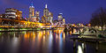 Melbourne skyline at dusk s famous from southbank towards flinders st station in victoria australia Stock Image