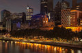 Melbourne skyline at dusk from southbank across the yarra river Stock Photos
