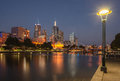 Melbourne skyline at dusk from southbank across the yarra river Royalty Free Stock Photos